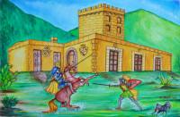 Paladini davanti la casina del principe
