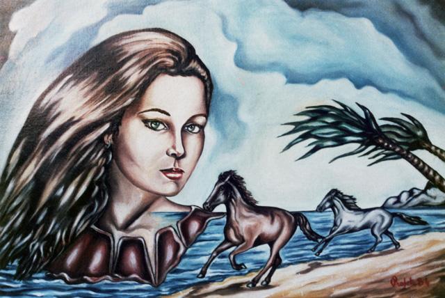 Ragazza con cavalli in spiaggia