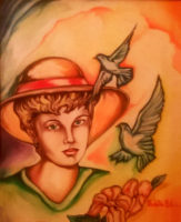 Ragazza con colombe