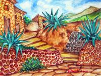 Paesaggio con zabbare e fontana