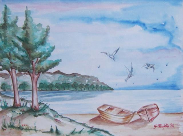 Paesaggio marino con gabbiani